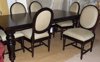 Espresso table and 6 side chairs