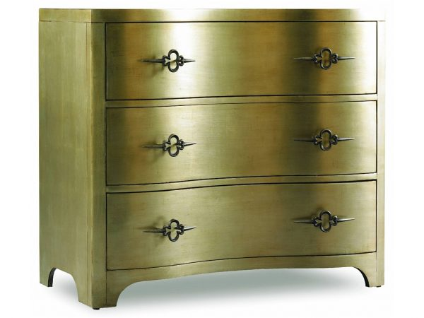 Hooker Sanctuary Three-Drawer Shaped Front Gold Chest 3008-85004