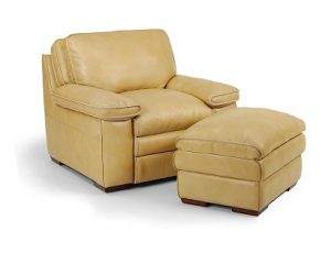 Flexsteel Penthouse Leather Chair and Ottoman-0