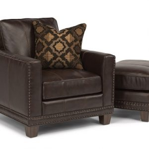 Flexsteel Port Royal Leather Chair and Ottoman-0