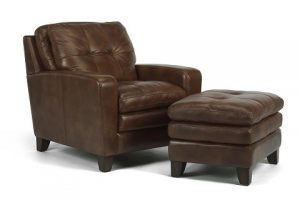 Flexsteel South Street Leather Chair and Ottoman-0