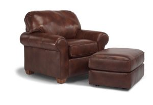 Flexsteel Thornton Leather Chair and Ottoman-0