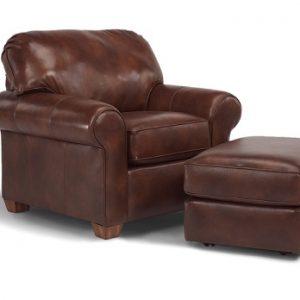 Flexsteel Thornton Leather Chair and Ottoman-0