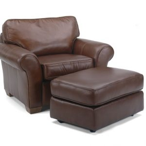 Flexsteel Vail Leather Chair and Ottoman-0