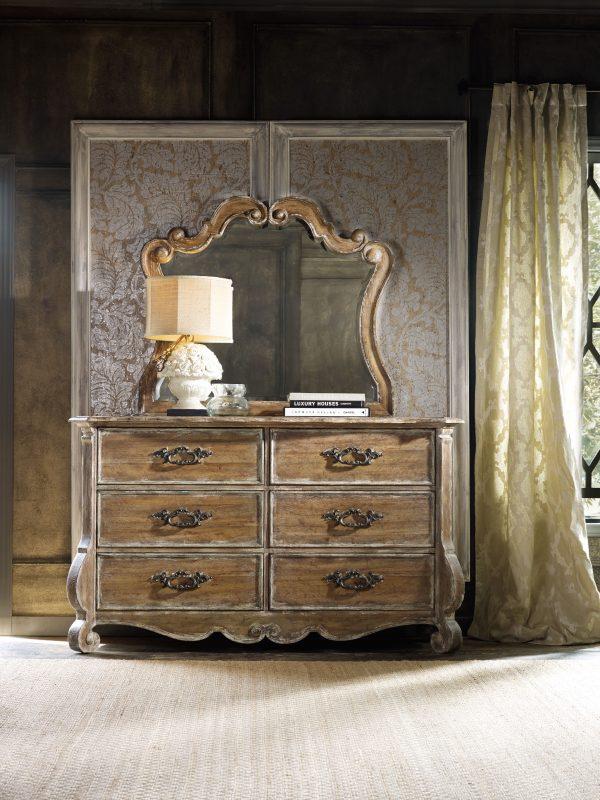 Hooker Furniture Chatelet Bedroom with Upholstered Mantle Bed-8920