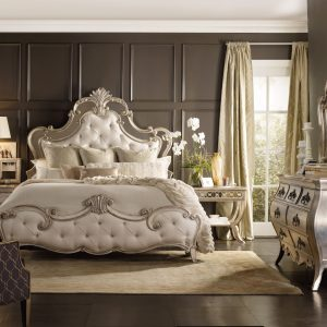 Hooker Furniture Sanctuary Bedroom with Mirrored Upholstered Bed-0
