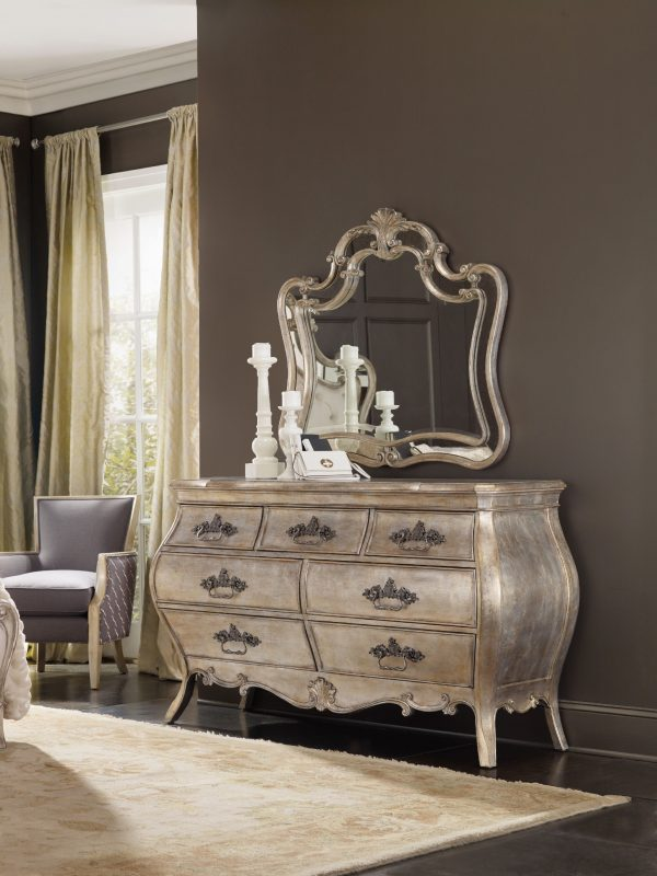 Hooker Furniture Sanctuary Bedroom with Mirrored Upholstered Bed-8700