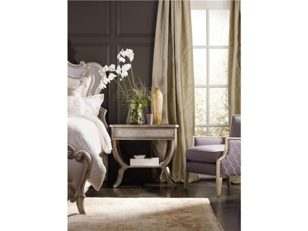 Hooker Furniture Sanctuary Bedroom with Mirrored Upholstered Bed-8696