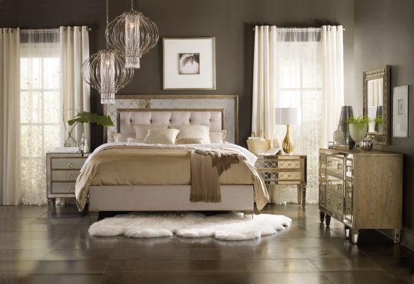 Hooker Furniture Sanctuary Bedroom with Mirrored Upholstered Panel Bed-0