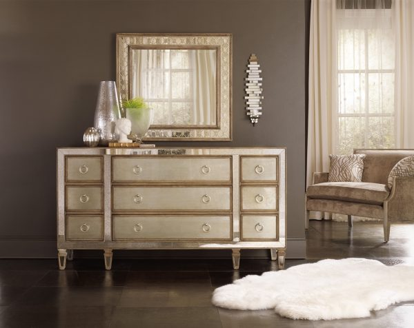 Hooker Furniture Sanctuary Bedroom with Mirrored Upholstered Panel Bed-8686