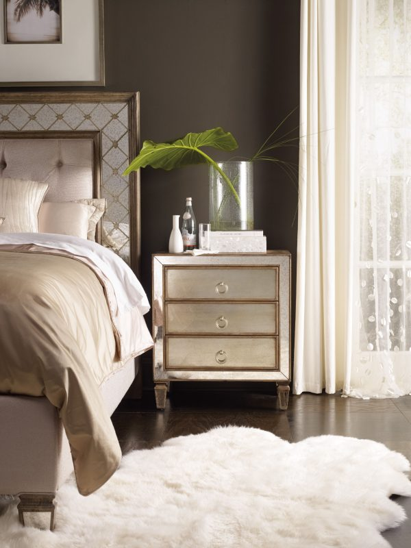 Hooker Furniture Sanctuary Bedroom with Mirrored Upholstered Panel Bed-8687