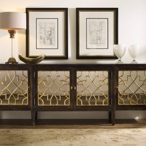Hooker Furniture Sanctuary Four Door Mirrored Console Ebony 3005-85005-0