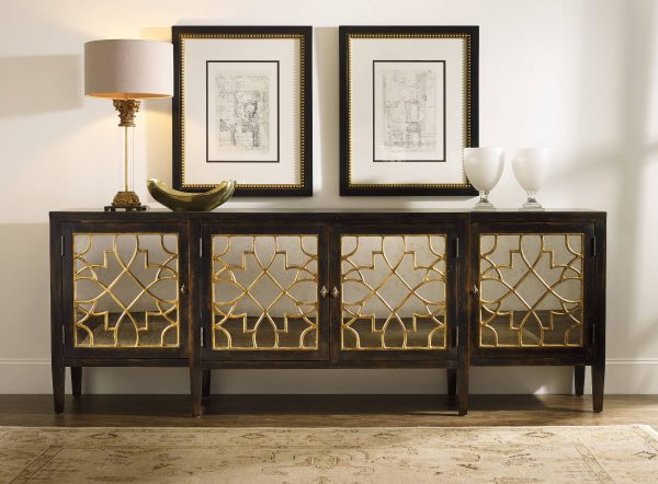 Hooker Furniture Sanctuary Four Door Mirrored Console Ebony 3005-85005-0
