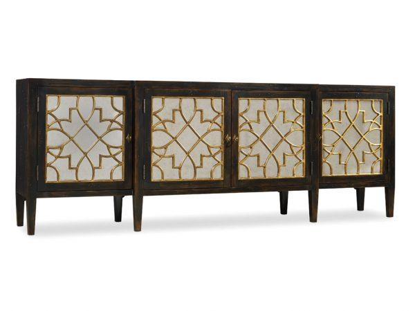 Hooker Furniture Sanctuary Four Door Mirrored Console Ebony 3005-85005-8783