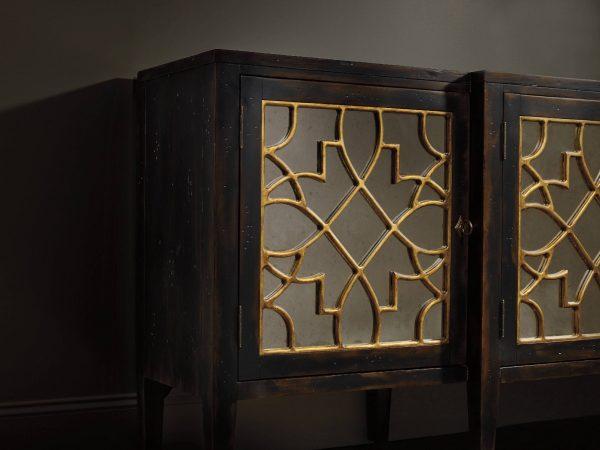 Hooker Furniture Sanctuary Four Door Mirrored Console Ebony 3005-85005-8784