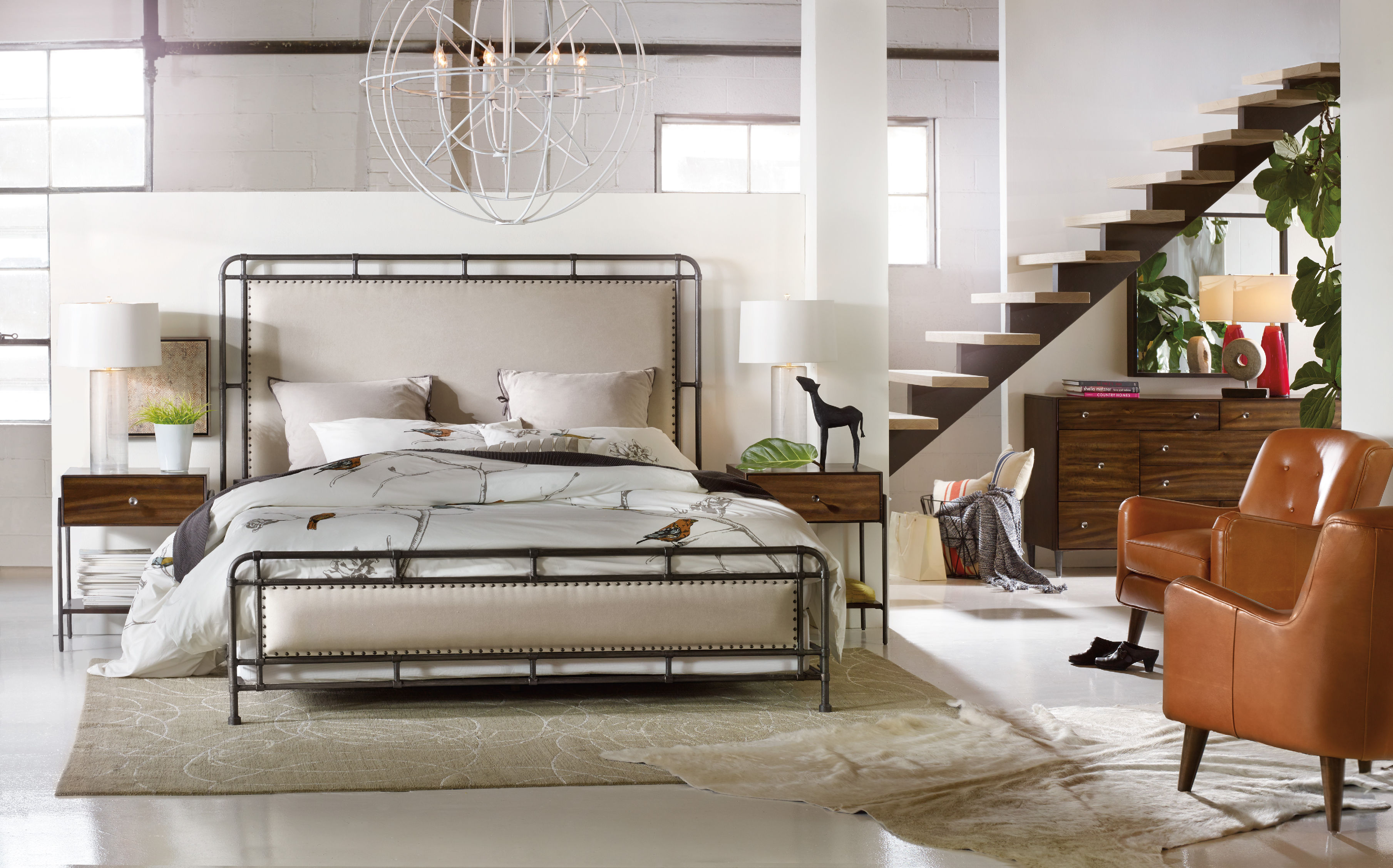 official photos 049ab d23a7 Hooker Furniture Studio 7H Bedroom with Metal Upholstered ...