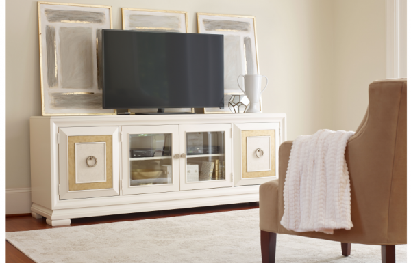 Legacy Furniture Tower Suite Entertainment Console in Pearl Finish